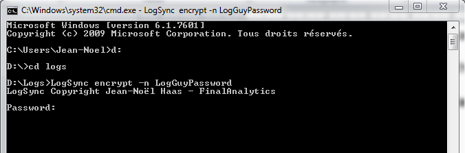 Store and encrypt password for LogSync