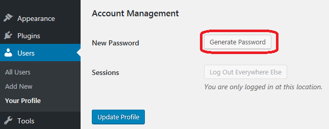 Generate a strong password in WordPress