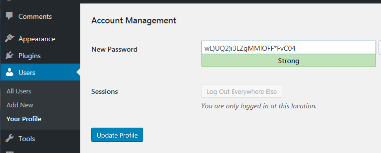 A strong password generated in WordPress