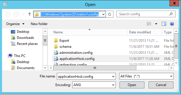 Open the IIS configuration file in the notepad