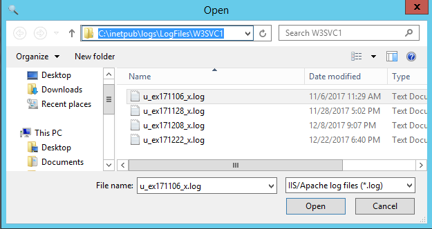 Load IIS HTTP log files in the HttpLogBrowser