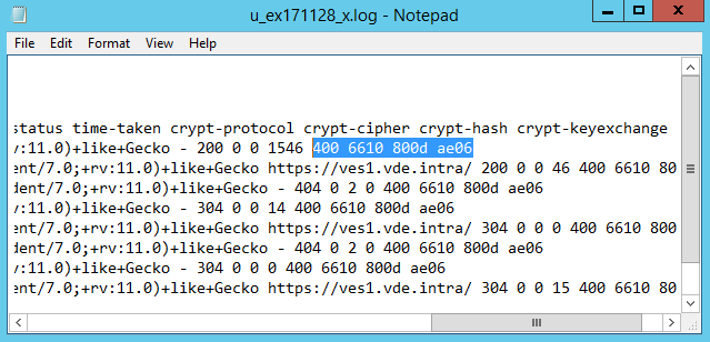 Cryptographic fields in a IIS HTTP log file