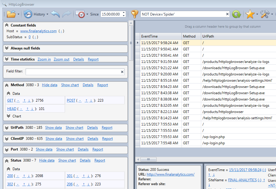Main view of the HttpLogBrowser with log rows on the right and statistics on the left