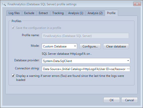 Database mode configuration in the HttpLogBrowser