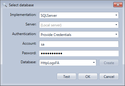 Database selection in the HttpLogBrowser