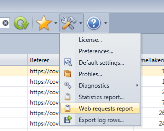 Launch the Web Request report in the HttpLogBrowser