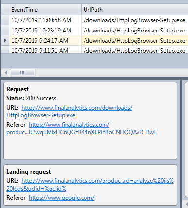 Original referrer displayed in the event panel of the HttpLogBrowser