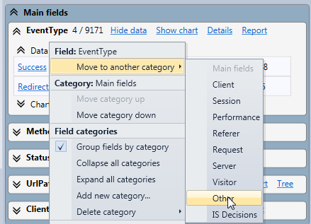 Edit field categories with the context menu of the field statistics panel in the HttpLogBrowser
