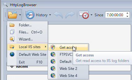 Get read access to IIS log folders in the HttpLogBrowser