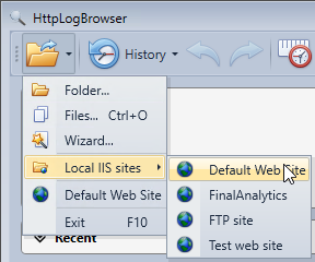 Load IIS HTTP logs directly from the menu in the HttpLogBrowser