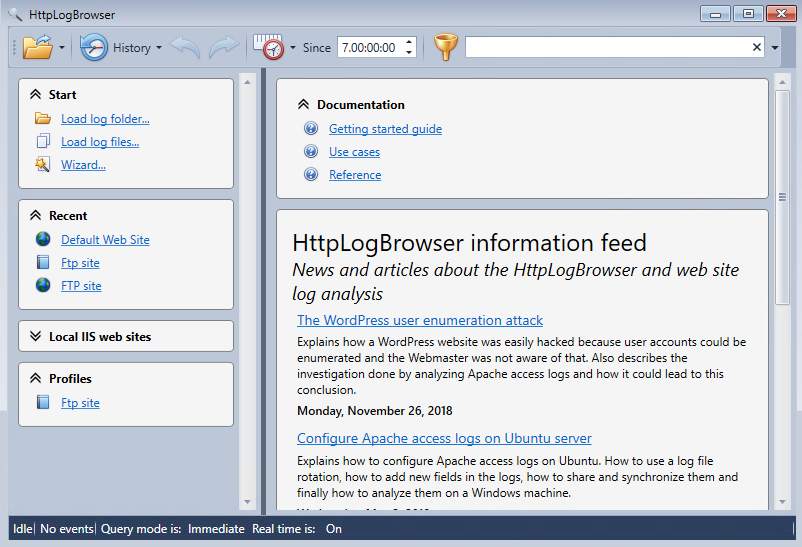 Welcome screen of the HttpLogBrowser