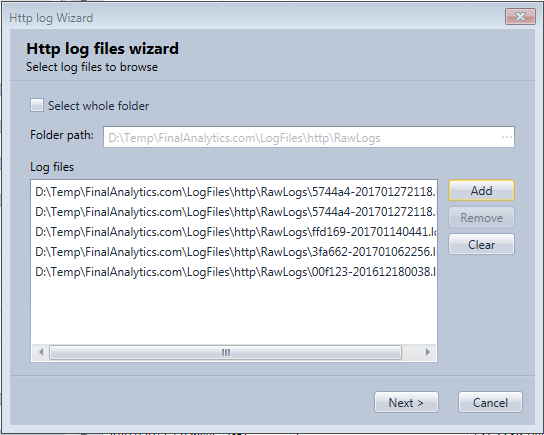 Select which log files to load in the Http Log Browser