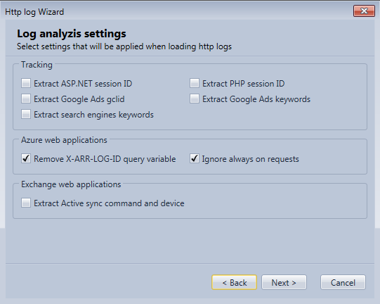 Specify settings to use when loading log files in the Http Log Browser