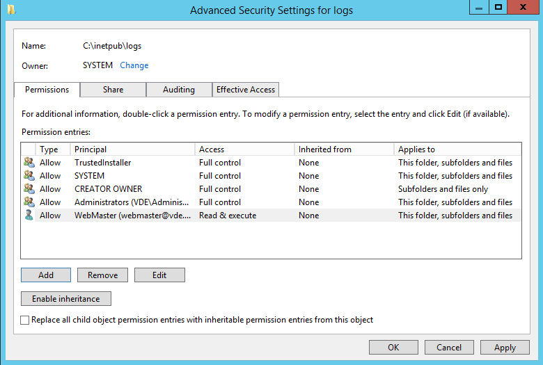 Apply permissions to IIS log folder