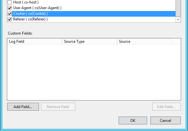 Custom fields for the HTTP logging in IIS