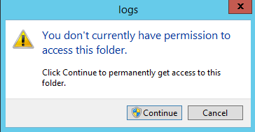 Enter IIS HTTP log folder to change permissions
