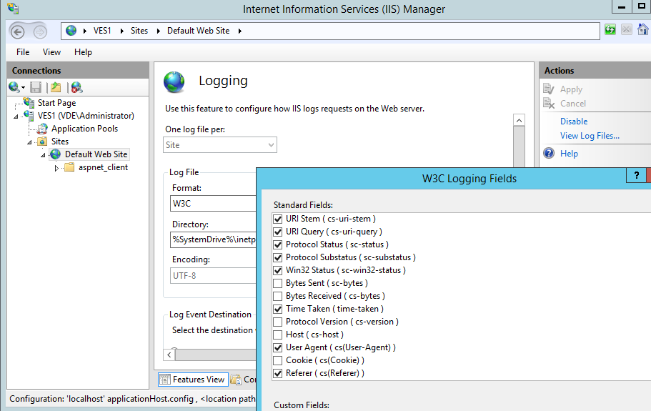 Select W3C fields for the HTTP logging in IIS
