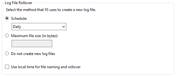 Log file rollover for the HTTP logging in IIS