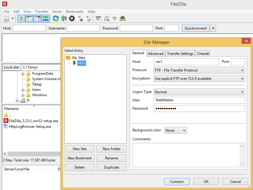 Add a FTP site in FileZilla