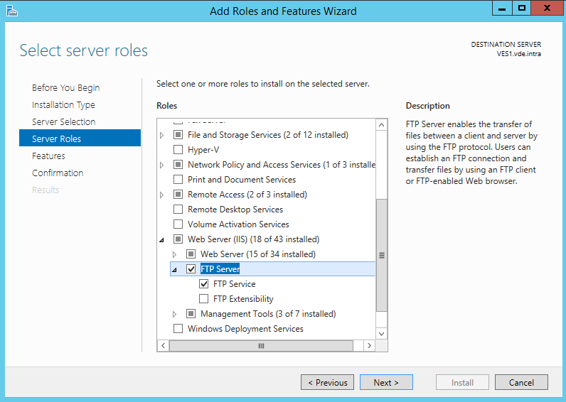 Install the FTP site feature in IIS