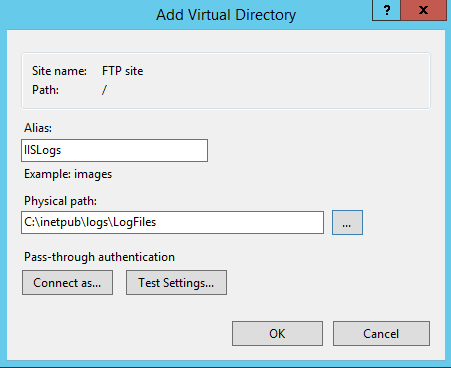 Configure a new virtual directory in a IIS FTP site