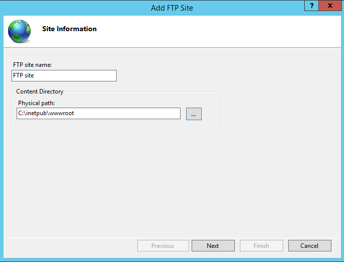 Configure IIS FTP site name