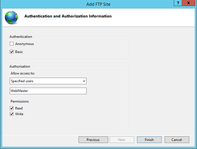 Configure IIS FTP site authentication and authorization information