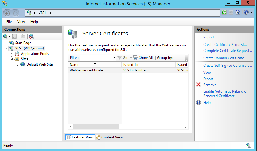 IIS server SSL certicate list