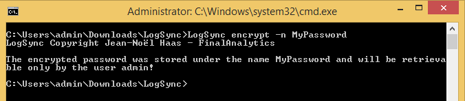 Encrypted pasword result for the LogSync command line tool